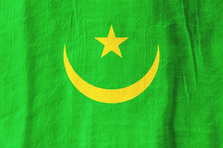 Mauritania national flag from fabric for graphic design.