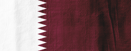 Qatar national flag from fabric for graphic design. Stock Photo - 83000761