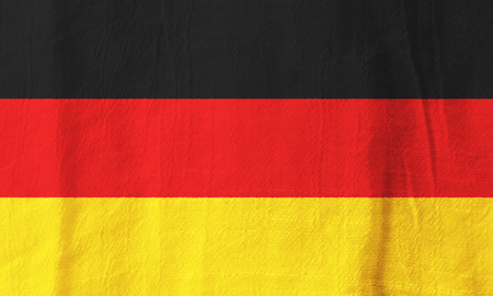 Germany national flag from fabric for graphic design. Stock Photo