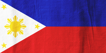 The Philippines national flag from fabric for graphic design.