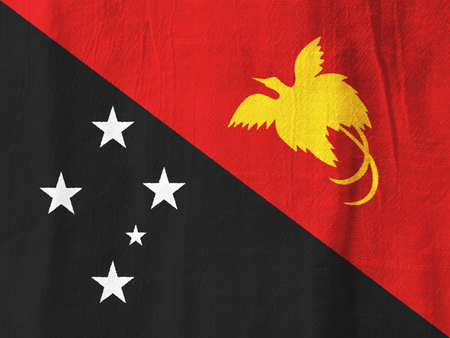 Papua New Guinea national flag from fabric for graphic design.