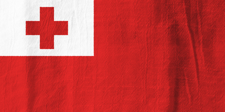 Tonga national flag from fabric for graphic design.
