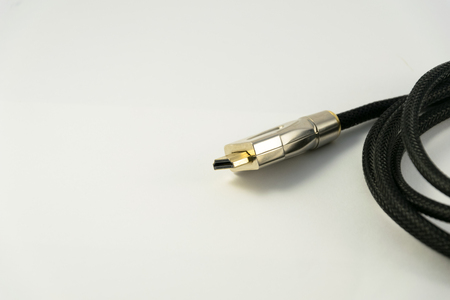 hdmi: Black audio video HDMI computer cable isolated on white background. Stock Photo