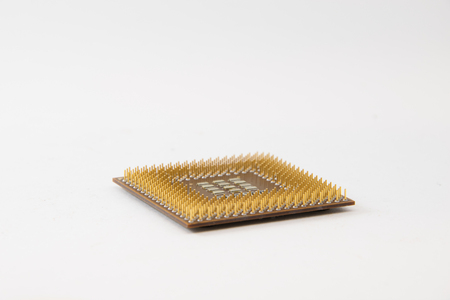 old cpu processor isolated on white background.