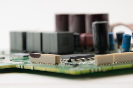 electronic components: close up part of motherboard from laptop computer. Stock Photo