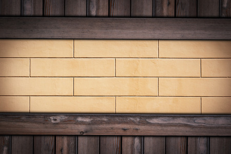 yellow Concrete Pattern wall on wooden background.