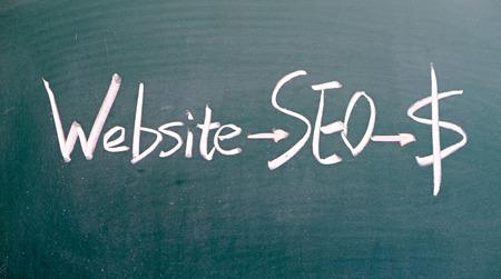 backlink: seo concept written on blackboard  Stock Photo