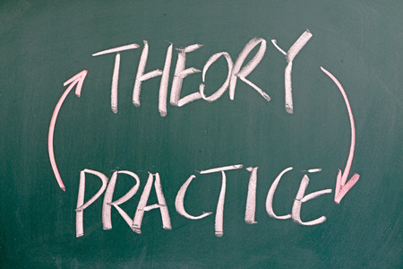Theory and practice words written on the chalkboard photo
