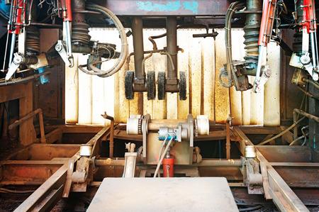 innards: Closeup of innards of machine shop lathe