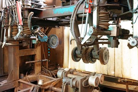 innards: Closeup of innards of machine shop lathe  Stock Photo