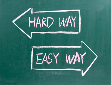hard way: The Hard Way or the Easy Way written on a blackboard with directional arrows. The choice between using Best Practice and efficiency or continuing to do it the wrong way.