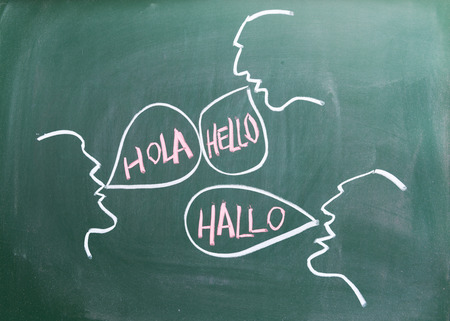 global communication concept on blackboard photo