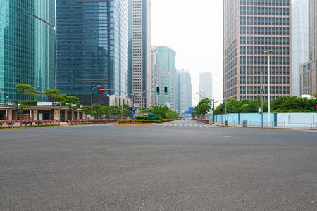 street view: The century avenue of street scene in shanghai Lujiazui,China.