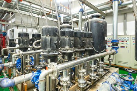 power cables: Equipment, cables and piping as found inside of industrial power plant