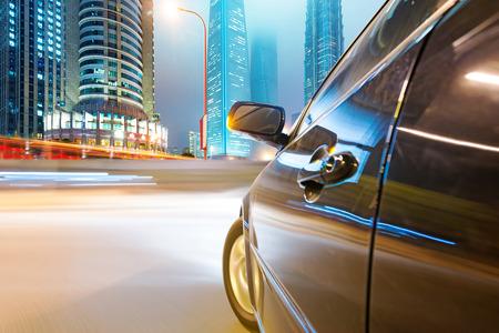 travel transportation: speeding car go through the city