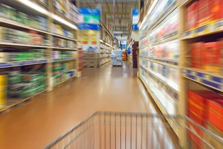 Empty supermarket aisle photo