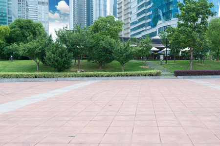 city park skyline: city park with modern building background in shanghai