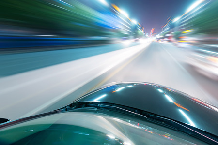smeared: acceleration speed motion on night road Stock Photo
