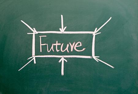 Future word written on the chalkboard Imagens