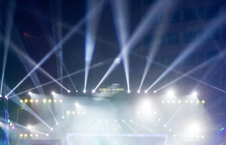 multiple spotlights on a theatre stage lighting rig Stock Photo