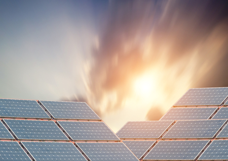silicium: Solar panels with blue sky