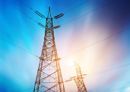 metal grid: high voltage post.High-voltage tower sky background.