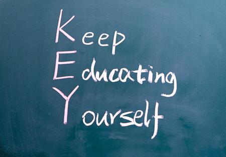 yourself: inscription in chalk on a blackboard