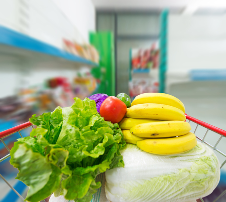 filled with the fruit and Vegetables of the shopping cart Stock Photo