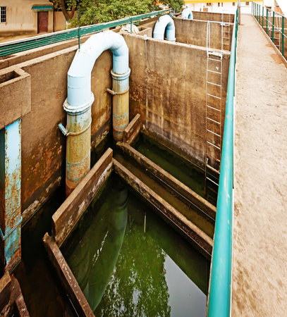 environmental sanitation: blue pipeline for oxygen blowing into sewage water