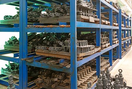 Metal pipe stack on shelf Stock Photo