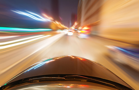 accelerated: car on the road with motion blur background Stock Photo