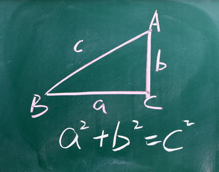 Right triangle with pythagorean formula writing on a chalkboard