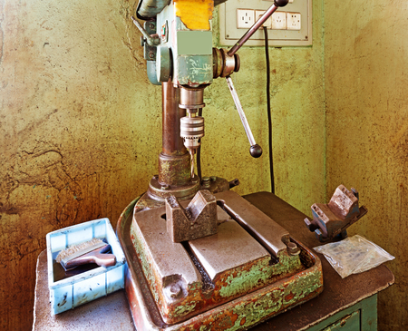 Drill press on a table