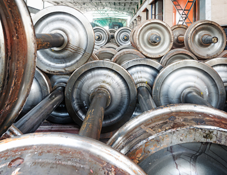 heavy industry factory, production of the steel train wheels