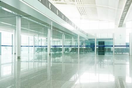 corridors: Interior of the airport in pudong shanghai china