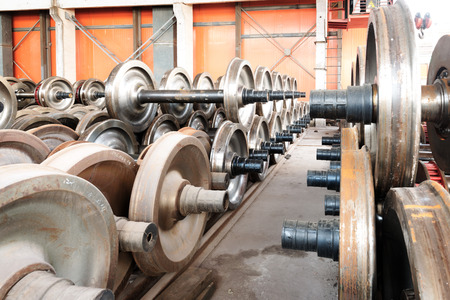 heavy industry factory,production of the steel train wheels