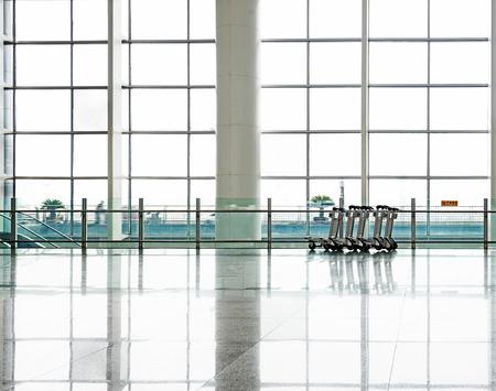 futuristic interior: shanghai pudong airport.interior of the airport.