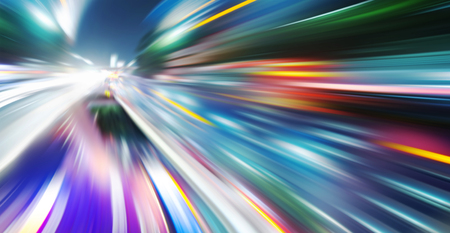 variegated: acceleration speed motion on night road Stock Photo