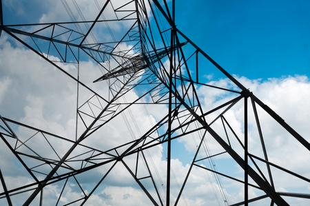力のタワーは空の背景のクローズ アップ