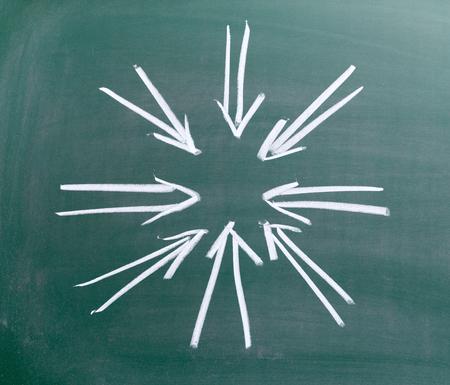frame of arrows drawing on chalkboard