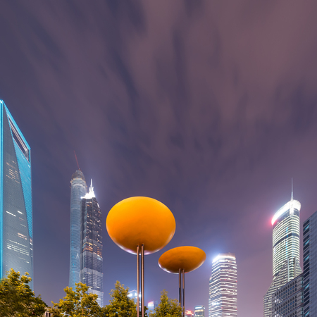 sears: the night view of the lujiazui financial centre in shanghai china