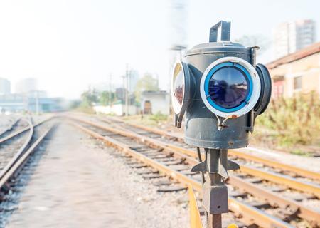 traffic controller: Traffic light shows blue signal on railway