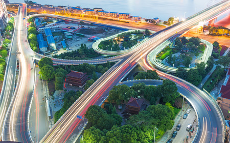 shanghai interchange overpass and elevated road in nightfall 스톡 콘텐츠