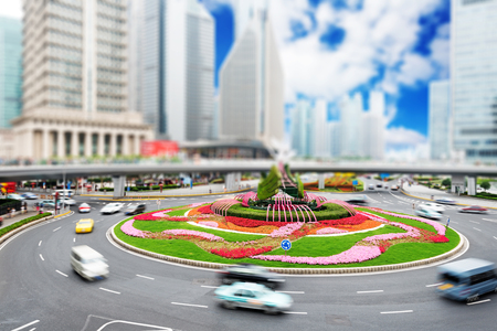 group of cars on the street road at shanghai china. Stock Photo