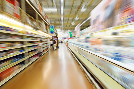 corridors: speed shopping at supermarket. Stock Photo
