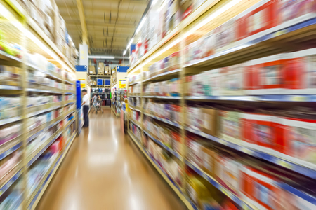 speed shopping at supermarket. Stock Photo
