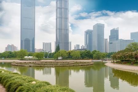 モダンな建物の背景とシティ パーク上海します。 写真素材