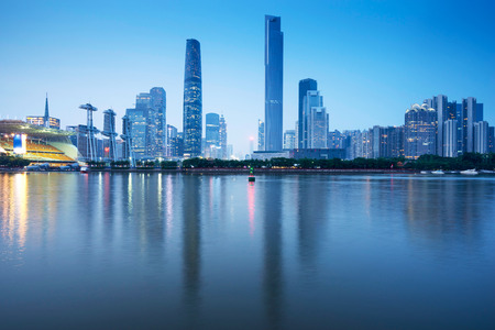 river: night skyline and modern cityscape in guangzhou at riverside