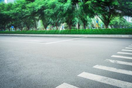 距離に道を並んで木を探して 写真素材