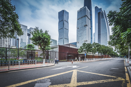 asphalt pavement with modern urban background ,guangzhou ,China